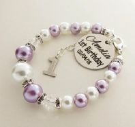 First Birthday 2018 Personalized  White & Lilac  Bracelet  - Boxed